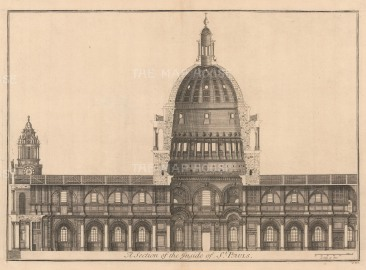 """Thomas Bowles, 'St. Paul's Cathedral [cross-section]', 1732. An original black and white copper-engraving. 18"""" x 27""""."""