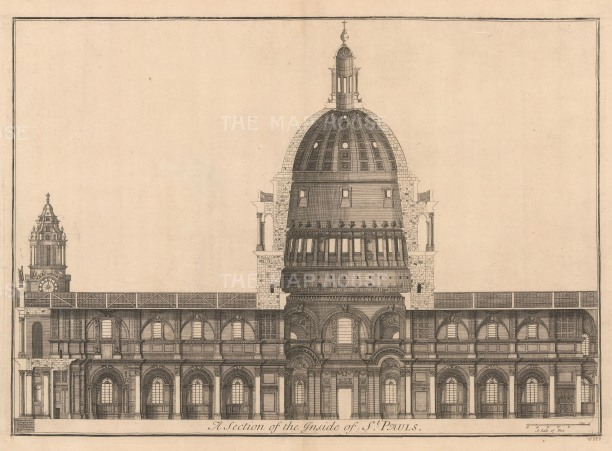 "Thomas Bowles, 'St. Paul's Cathedral [cross-section]', 1732. An original black and white copper-engraving. 18"" x 27""."