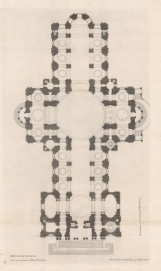 """Thomas Bowles, 'St. Paul's Cathedral [peripteral plan]', 1732. An original black and white copper-engraving. 18"""" x 27""""."""