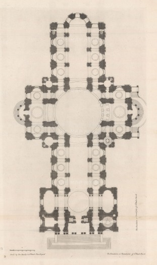 "Thomas Bowles, 'St. Paul's Cathedral [peripteral plan]', 1732. An original black and white copper-engraving. 18"" x 27""."