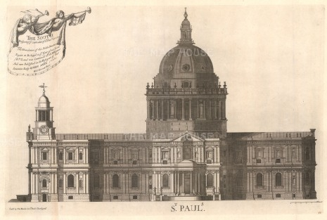 "Bowles: St. Paul's Cathedral. 1732. An original antique copper engraving. 27"" x 18"". [LDNp10318]"