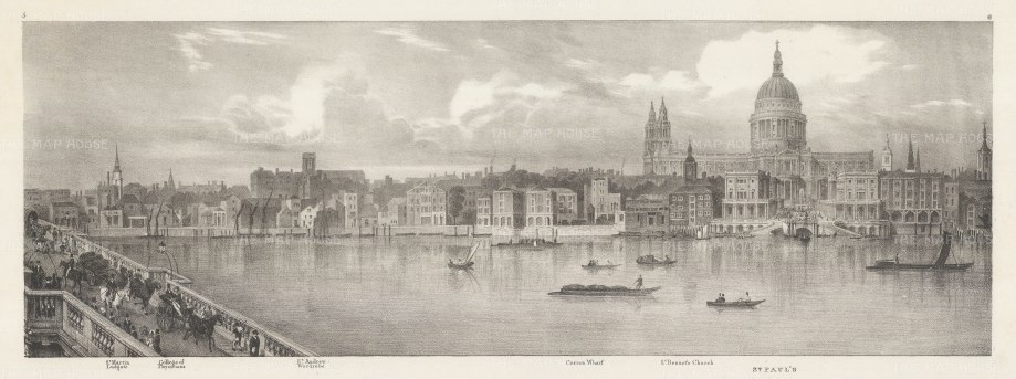 "Trench: St Paul's. An original antique lithograph. 23"" x 9"". [LDNp10473]"