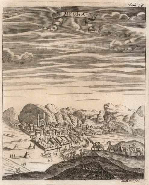 "Muller, 'Mecca', 1730. An original black and white copper-engraving. 6"" x 7"". £POA."