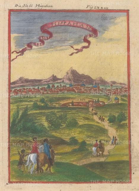 """Mallet: Isfahan, Iran. 1719. A hand coloured original antique copper engraving. 4"""" x 6"""". [MEASTp1351]"""