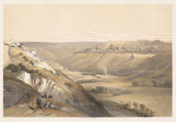 "Roberts: Jerusalem. 1841. A hand coloured original antique lithograph. 20"" x 14"". [MEASTp1352]"