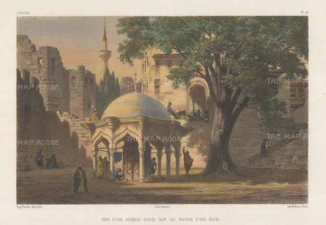 Beirut: Al-Omari mosque built on the ruins of a Byzantine church and Roman temple. Flandin was part of a French expeditionary mission to the region.