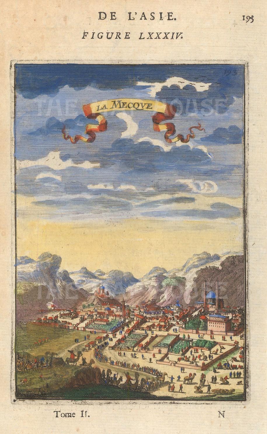 "Alain Mallet, 'La Mecque', 1683. A hand-coloured original copper-engraving. 4"" x 6"". £POA."