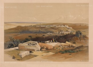 Gaza: Panoramic view approaching by Beit-Gebrin. With the Egyptian Light Dragoons and Lancers marching to Sidon.