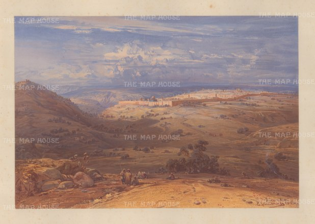 Panorama of Jerusalem and its environs from the Mount of Olives.