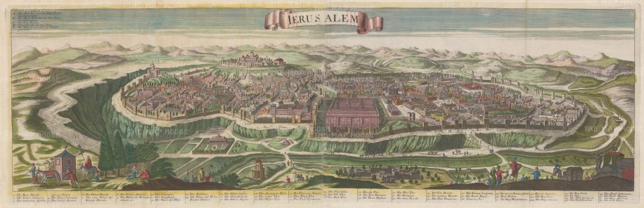 Ancient Jerusalem: Panorama based upon an earlier view with detailed key.