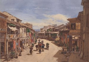Street View in Hong Kong drawn from life during Hildebrandt's 'round-the-world' voyage.