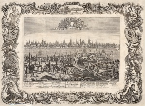 Aveline: Istanbul. c.1692. An original antique copper-engraving. 28 x 21 inches. [TKYp1112]