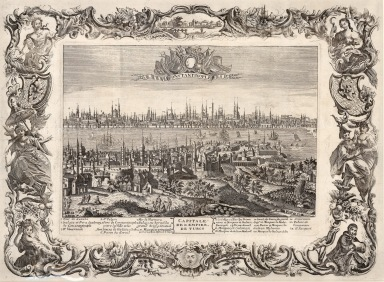 RARE Panorama with key and allegorical baroque border: The city's Ottoman name is delibratly ignored in reference to its Christian heritage, even as Europeans and particularly the French are intensifying commerce and developing ties with the Empire.