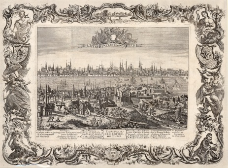 RARE Panorama with key and allegorical baroque border: The city's Ottoman name is deliberately ignored in reference to its Christian heritage, even as Europeans and particularly the French are intensifying commerce and developing ties with the Empire.