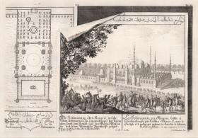 Enloch: Mosque of Sultan Soliman II. 1721. An original antique copper engraving. 18 x 13 inches. [TKYp1134]