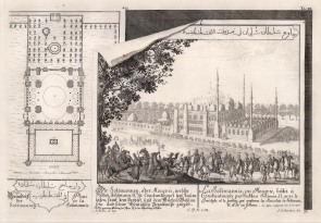 Constantinople: Mosque of Suleyman the Magnificent. View of the complex designed by Mimar Sinan with a plan of the gardens.