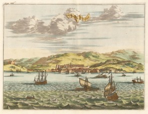 Tenedos (Bozcaada): Panoramic view of the fortress and harbour on the Aegean Sea.