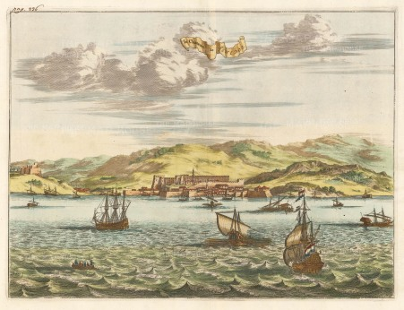 Van der Aa: Tenedos (Bozcaada). 1719. A hand-coloured original antique copper-engraving. 16 x 13 inches. [TKYp1249]