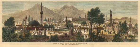 the Illustrated London News: Erzurum. 1880. A hand-coloured original antique wood-engraving. 20 x 6 inches. [TKYp1271]