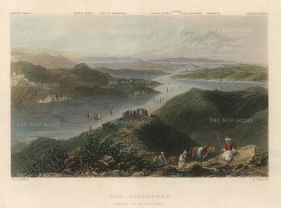 Bartlett: The Bosphorus. A hand-coloured original antique steel-engraving. 5 x 3 inches. [TKYp1298]
