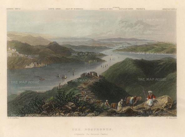 Bartlett: The Bosphorus. A hand-coloured original antique steel-engraving. 5 x 3 inches. [TKYp1298]