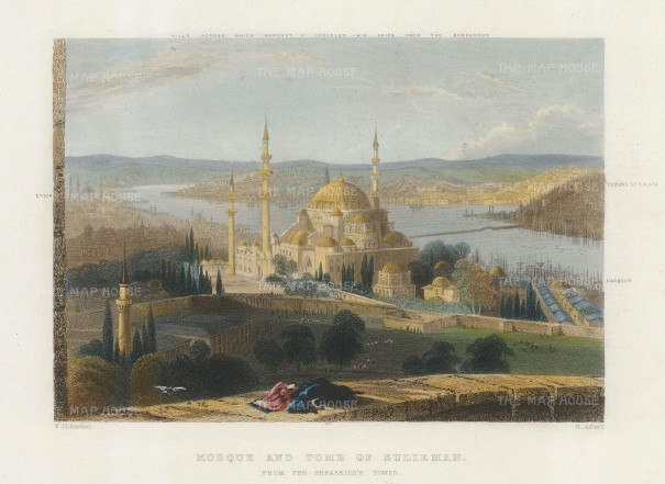 Bartlett: Istanbul. 1838. A hand-coloured original antique steel-engraving. 6 x 5 inches. [TKYp1300]