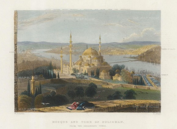Panoramic view from Seraskier's Tower over the tomb of Sulieman: From Eyoub to Galata with key.