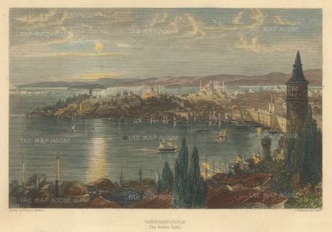Panoramic view overlooking the Golden Horn (Halic) to the Sea of Marmara.
