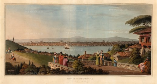 Mayer: Istanbul. 1809. An original colour antique aquatint. 21 x 10 inches. [TKYp295]
