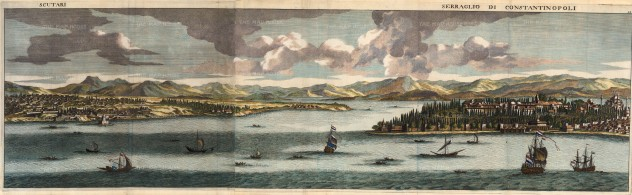Le Bruyn: Istanbul. 1702. A hand-coloured original antique copper-engraving. 39 x 12 inches. [TKYp620]