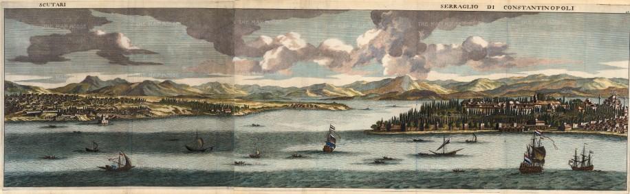 Constantinople: Panorama from Scutari (Uskudar) across the Bosphorus to theTopkapi Palace.