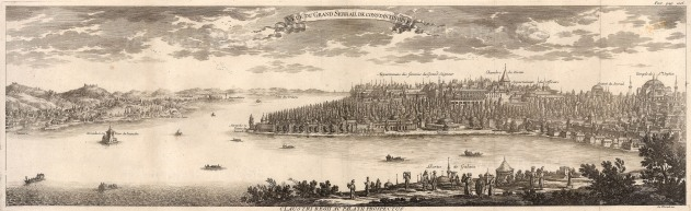 Panorama from Galata to Scutari and Constantinople: Issued in the year the Treaty of Pruth ended the Russo-Turkish war; Le Blond was later appointed as chief architect of the city of St Petersburg.