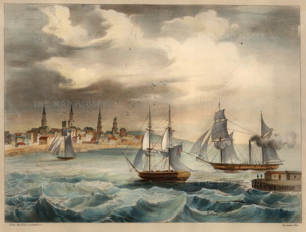 Boston: Panoramic view of the harbour before the great fire of 1872.