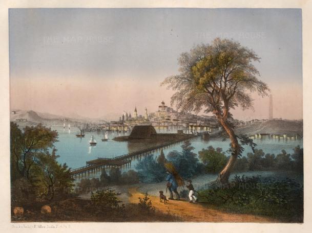 "Silber: Boston, Massachusetts. c.1860. An original colour antique lithograph. 12"" x 16 x 12 inches. [USAp3344]"