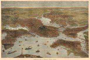 "Illustrated London News: Boston, Massachusetts. c.1880. A hand coloured original antique wood engraving. 20"" x 13"". [USAp4572]"