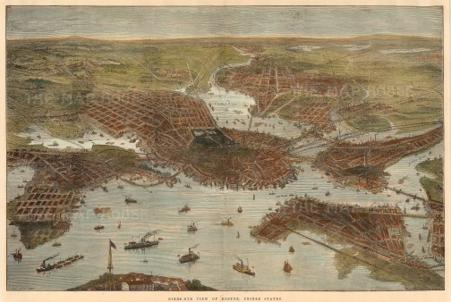 The Illustrated London News: Boston, Massachusetts. c.1880. A hand-coloured original antique wood-engraving. 20 x 13 inches. [USAp4572]