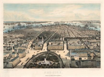 Bachman: New York. 1859. An original colour antique lithograph. 29 x 21 inches. [USAp4669]