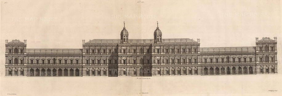"Inigo Jones, 'Unknown Façade Design', c.1720. An original black and white copper engraving . 14"" x 38"". £POA."