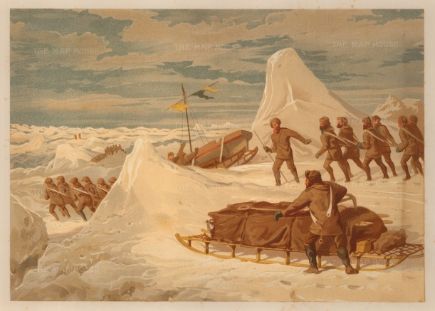 Moss: HMS Alert, Arctic c.1880. An original antique chromo-lithograph. 12 x 9 inches. [ARTp447]