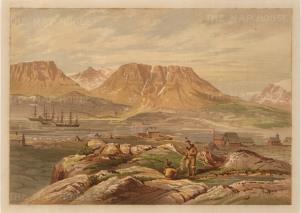 Moss: HMS Alert, Arctic c.1880. An original antique chromo-lithograph. 12 x 9 inches. [ARTp456]