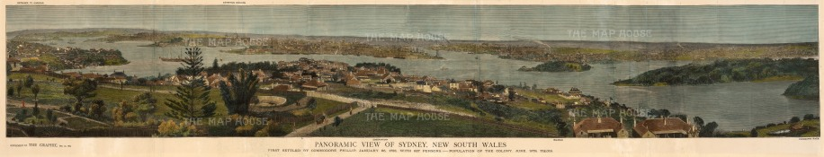 "Graphic Magazine: Sydney. 1879. A hand coloured original antique wood engraving. 10"" x 49"".[AUSp679]"