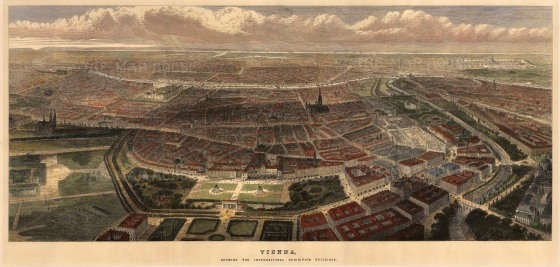 Bird's eye view during the World Fair of 1873. Although a financial disaster, the fair ushered in new era of international tourism.