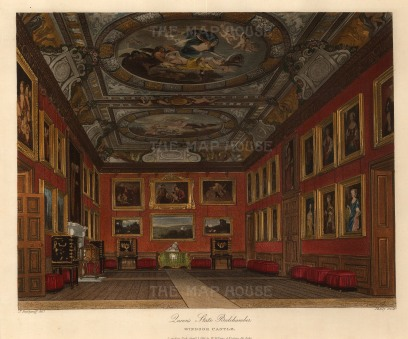 "Pyne, 'Queen's State Bedchamber, Windsor Castle', 1818. An original colour aquatint. 8"" x 10"". £POA."