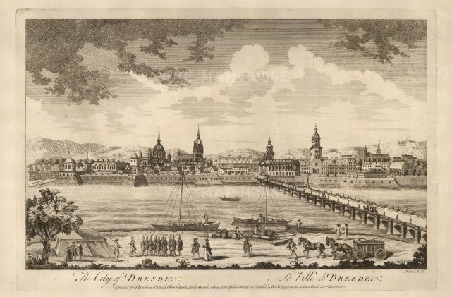 "Sayer: Dresden. 1774. An original antique copper engraving. 18"" x 12"". [GERp1247]"