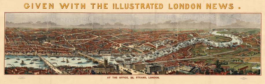 """The Illustrated London News, 'Blackfriar's Bridge to the Isle of Dogs', 1845. A hand-coloured original wood-engraving. 21"""" x 55"""". £POA."""