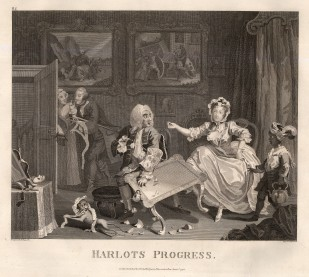 "William Hogarth, 'A Harlot's Progress', 2 of 6, 1798. An original black and white copper engraving. 14"" x 16"". £POA."