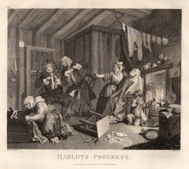 "William Hogarth, ' A Harlot's Progress', 5 of 6, 1798. An original black and white copper engraving. 14"" x 16"". £POA."