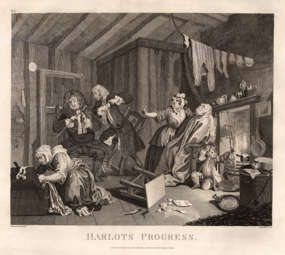"William Hogarth, ' A Harlot's Progress', 5 of 6, 1798. An original black and white copper engraving. 14"" x 16"". £POA."