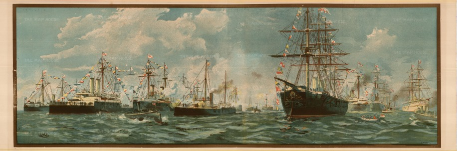 "The Illustrated London News: Royal Navy Review at Spithead, 1897. An original colour chromo-lithograph. 15"" x 41""."