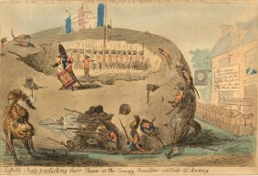 "Cruikshank: 'Suffolk Rats Protecting Their Cheese'. 1795. An original hand-coloured etching. 9"" x 13""."